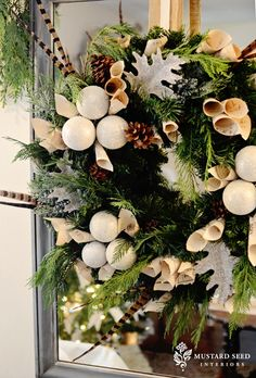 This wreath for the front doors. Rustic Nature Inspired Christmas.