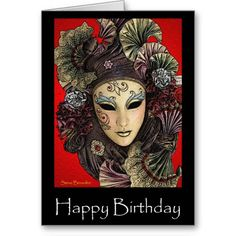 Festive Mask Birthday Greeting Card available at www.zazzle.com/stevebrownleeart