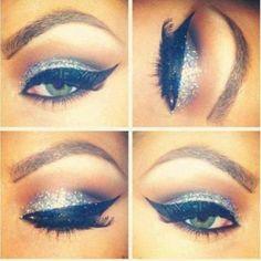 silver shimmer + dramatic cat eye