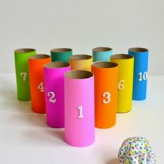 Turn old toilet paper rolls into a game of bowling for toddlers! Plus other games and activities with toilet paper rolls! Rainy Day Crafts, Rainy Day Activities, Craft Activities, Toilet Roll Craft, Toilet Paper Roll Crafts, Kids Crafts, Toddler Crafts, Toddler Fun, Diy Toys