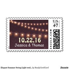 Elegant Summer String Light wedding Monogram Stamp Wedding Postage Stamps, Class Of 2019, Monogram Wedding, String Lights, Create Your Own, Best Gifts, Prints, Cards, Light Wedding