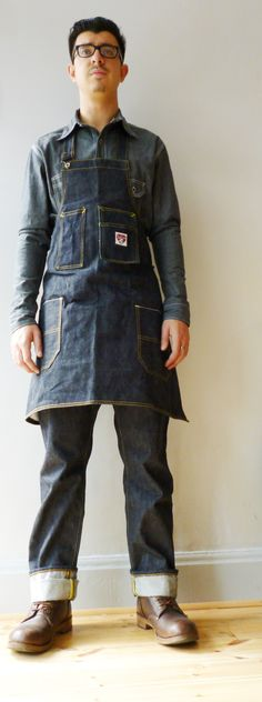 We love this SJC mens denim apron - aka the Anvil Apron made from 16oz Japanese selvedge denim.  Part of the heritage rich vintage men's style apparel line coming soon on the SJC Kickstarter campaign. Pin it for later.  http://www.simonjamescathcart.com/