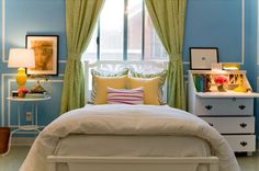 bedrooms - Valspar - Forget Me Not - Typhanie Peterson stripes blue green yellow pink  Vintage Bedroom