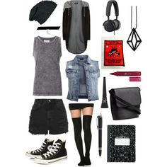 you never outgrow punk #2 by alykat-1 on Polyvore featuring polyvore, fashion, style, Current/Elliott, HOMEBODY, VILA, Montblanc, Topshop, Converse, H&M, Stephanie Bates, Suzywan DELUXE, B&O Play, Maybelline and e.l.f.