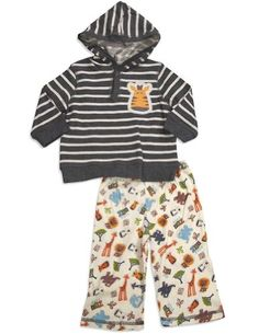 Pepper Toes Baby-Boys Newborn Zoo Pal Hoddie Set, Grey, 9 Months 100% Cotton. Pullover hoodie with zebra.  #PEPPERTOES #Apparel