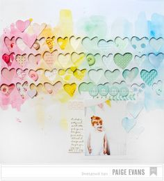 Layouts by Paige Evans - American Crafts Watercolor Hearts layout by Paige Evans- American Crafts Watercolor Hearts layout by Paige Evans Birthday Scrapbook, Baby Scrapbook, Scrapbook Paper Crafts, Scrapbook Cards, Birthday Cards, Scrapbook Sketches, Scrapbook Page Layouts, Scrapbook Designs, Crate Paper