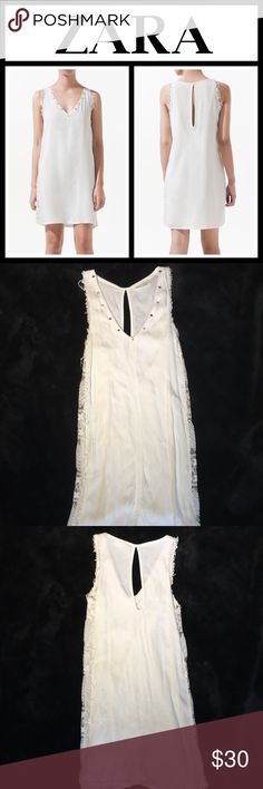 "Zara White Studded Lace Dress Only worn one time in excellent condition - has a slip attached as the lease is see-through - size is small and fits TTS - measures 32"" from shoulder down - happy to provide additional measurements if requested! Zara Dresses"