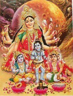 Durga with Baby Vishnu,Shiv,Brahmha Maa Durga Image, Durga Maa, Shiva Shakti, Jai Hanuman, Durga Images, Lord Krishna Images, Indian Goddess, Goddess Lakshmi, Hindus