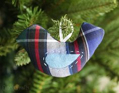 Christmas ornament made from loved one's old clothing. This is a great idea when you are struggling with a momento.... Can probably do anything...