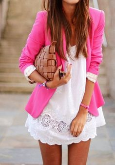 The white dress is a little short for my style-love the details and pink (Lapel Cotton Suit - Pink Fashion Mode, Look Fashion, Womens Fashion, Fashion 2014, Runway Fashion, Fashion Trends, Mode Style, Style Me, Mode Outfits