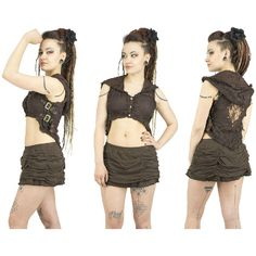 Steampunk Brown Lace Hooded Vest With Belt on Sides Gypsy Tribal... (€51) ❤ liked on Polyvore featuring outerwear, vests, gypsy vest, vest waistcoat, hooded vest, waistcoat vest and hippie vest