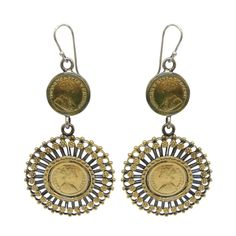 Antique Ethnic Tribal Old Silver Gold Polish Pair Dangle Earring From Rajasthan #ViditaJewels