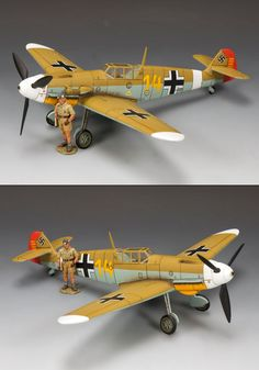 World War II German Luftwaffe AK071SL Hans Joachim Jochen Marseille & his BF109 Fighter - Made by King and Country Military Miniatures and Models. Factory made, hand assembled, painted and boxed in a padded decorative box. Excellent gift for the enthusiast.