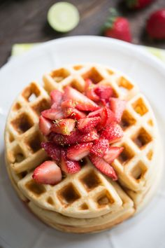 Key Lime Homemade Waffles Recipes - This homemade waffles recipe has a subtle key lime flavor that tastes perfect with homemade strawberry topping!