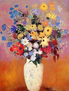 Odilon Redon / White Vase with Flowers