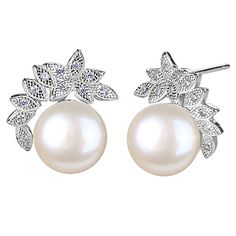 EleQueen 925 Sterling Silver CZ AAA Button Cream Freshwater Cultured Pearl Leaf Bridal Stud Earrings 10mm *** See this great product.(This is an Amazon affiliate link)