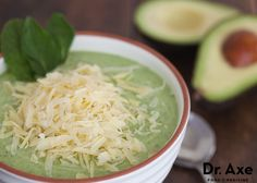 Creamy Cucumber Avocado Soup. Everyone will love this! http://www.draxe.com #avocado #recipe #avocadosoup #cucumber