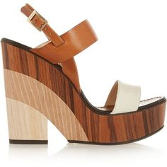 Jimmy Choo Notion leather and wood wedge sandals ($650) found on Polyvore featuring women's fashion, shoes, sandals, heels, wedges, brown, wooden heel sandals, leather sandals, leather wedge sandals and brown sandals