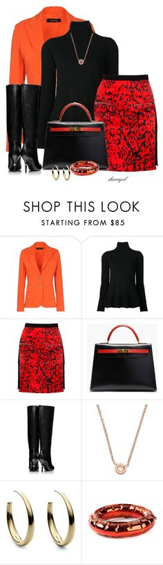"""""""Black And Orange Contest"""" by sherryvl ❤ liked on Polyvore featuring Basicon, Viktor & Rolf, Preen, Hermès, Tory Burch, Michael Kors and MM6 Maison Margiela"""