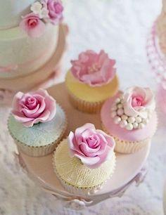 ... yummy cupcake rose cupcake pink rose pearls cupcake cute cupcake