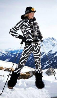 Bogner ski - vintage animal print. Pair this with a Dream Maker Helmet Hugger with Black & White Faux Wolf Fur www.helmethuggers.com/shop/dream-maker/