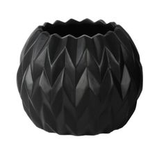 """$27.99   Round Low Vase with Uneven Lip  Embossed Wave Design Matte Finish Black Product Size: 6.75""""x6.75""""x5.50""""H Material and Color: Ceramic Black Style#: 21434 One Piece Matte Finish  Latestliving.com"""