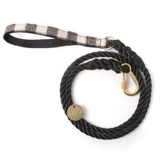 Black and White Plaid Rope Dog Leash