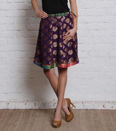 Purple Georgette Jacquard Skirt