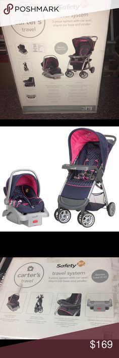 Carters 3pc Baby Travel System New unopened complete travel set includes 3 pieces, a car seat carrier, car seat base, and stroller. Safety features include 5-point harnesses, removable head and neck support, a level indicator to ensure proper car seat installation and lockable stroller wheels to ensure that your little one is as secure as possible.  * Carter's Cute as a Hoot Travel System includes a car seat base, car seat carrier and stroller Carters Other