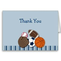 All Star MVP Sports Balls Thank You Note Cards