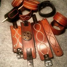 Handstitched leather bracelets & cuffs from vintage belts by 3wunder leather  #recycling #upcycling #leatherwork