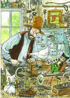 ✏ - Sven Nordqvist illustrations for Pettson & Findus Design Graphique, Naive Art, Children's Book Illustration, Religious Art, Cat Art, Illustrators, Book Art, Old Things, Images