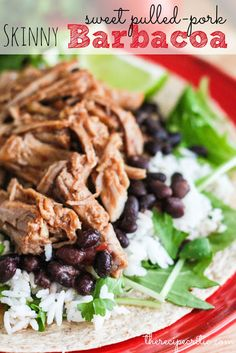 Slow Cooker Skinny Sweet Pork Barbacoa at http://therecipecritic.com  This is almost exact to Cafe Rio and the flavor is amazing.  The pork is so tender it melts in your mouth!  Only 202 cals a serving and 5 WW points+!