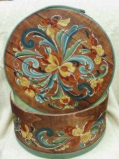 Chestnut Stained Cheese Box with Norwegian Rosemaling