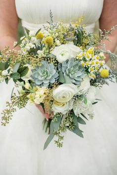Julie & Jim's Rustic Tennessee Intimate Wedding - Beautiful wildflowers and succulents bouquet