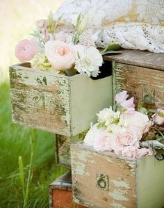Chippy green dresser with pink roses