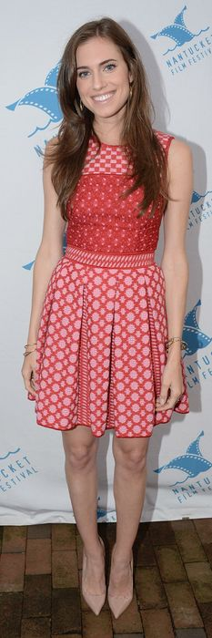 Who made Allison Williams' red and pink print dress?