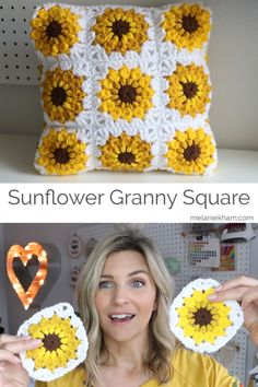 Learn how to make this sunflower granny square with this free and simple crochet video tutorial. You also have the option to make this into a pillow with this tutorial. Granny Square Pattern Free, Granny Square Crochet Pattern, Crochet Squares, Crochet Granny, Granny Squares, Granny Square Poncho, Granny Granny, Granny Square Projects, Crochet Blocks