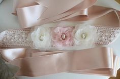 Items similar to Floral Wedding Beige Sash Belt Organza Flower ivory lace and Pearl Crystal Rhinestone Wedding Bridal Sash Belt - Beige Satin Ribbon on Etsy Bridesmaid Accessories, Bridesmaid Jewelry, Bridal Accessories, Bridal Jewelry, Bridesmaids, Rhinestone Wedding, Crystal Rhinestone, Floral Wedding, Organza Flowers