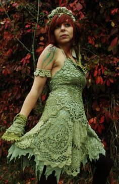 fairy pirate bohemian rococo style romantic crochet lace arm cuffs wrist warmers bracelet in sage and olive green lace. €30.00, via Etsy.