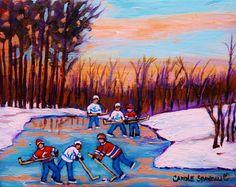 Pond Hockey Canadiens Superstars Frozen Pond Winter Landscapes Carole Spandau Paintings Art Print by Carole Spandau Fine Art Amerika, Sports Painting, Frozen Pond, Soccer Art, Carole, Thing 1, Canada Images, Oil Painters, Winter Landscape
