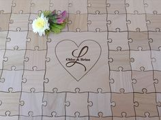 50 Pieces Custom Heart Wedding puzzle - Wedding Guest Book Puzzle -Guest Book Alternative by NorthernOwlCreations on Etsy