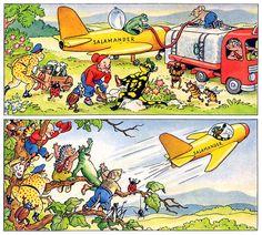 In der überarbeiteten Version von 1958 fliegt Lurchi etwas extrem Seltenes: einen zivilen Sport-Düsenjäger. Verstellbare Höhen- oder Seitenruder sind nicht zu erkennen, auch die Bastel-Szene ist getilgt worden.  H. Schubel: Lurchi Salamander, Nr.4, S.3, Kornwestheim, 1958