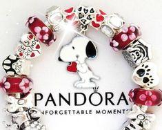 Authentic PANDORA Silver Charm Bracelet European Charms Red White Snoopy Dog New