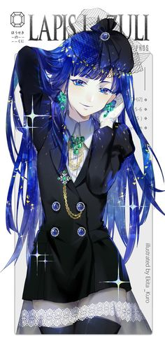 Land of the lustrous houseki no kuni lapis lazuli doujin fanart cosplay costume Manga Girl, Manga Anime, Anime Art, Lapis Lazuli Anime, Dibujos Tumblr A Color, Chibi, I Love Anime, Anime Style, Anime Characters
