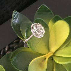 Green amethyst and diamond pave white gold by ColorEngagementRings  $1180.00 USD
