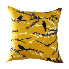 Yellow Pillow Cover-Mustard Bird Pillow-Yellow Floral Pillow-Yellow Cushion- - Contemporary - Pillows - minneapolis - by Yellow Pillow Covers, Yellow Throw Pillows, Yellow Cushions, Floral Pillows, Decorative Pillow Covers, Living Room Color Schemes, Colour Schemes, Mustard Cushions, Contemporary Decorative Pillows