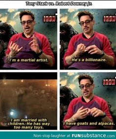 Robert Downy Jr. vs Tony Stark
