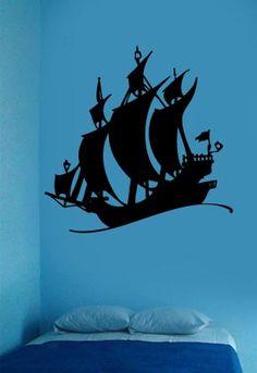 Pirate SHIP Boys Room Wall Art Vinyl Sticker Decal 1 | eBay
