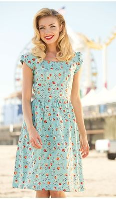1940s Cute Print Day Dresses- Neap Tide $88.00 Stop Staring Tan & Black Olivia Wiggle Dress $162.00 Found at: http://www.vintagedancer.com/1940s/1940s-womens-clothes/